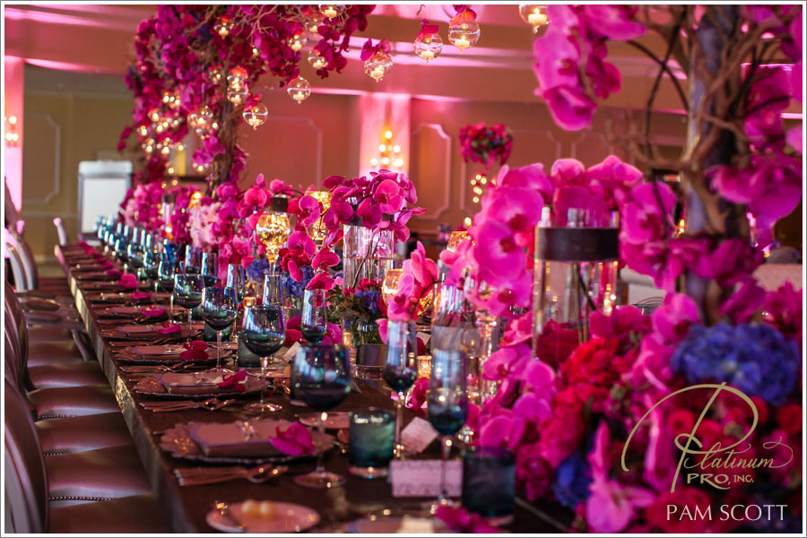 Hot pink and gold wedding reception