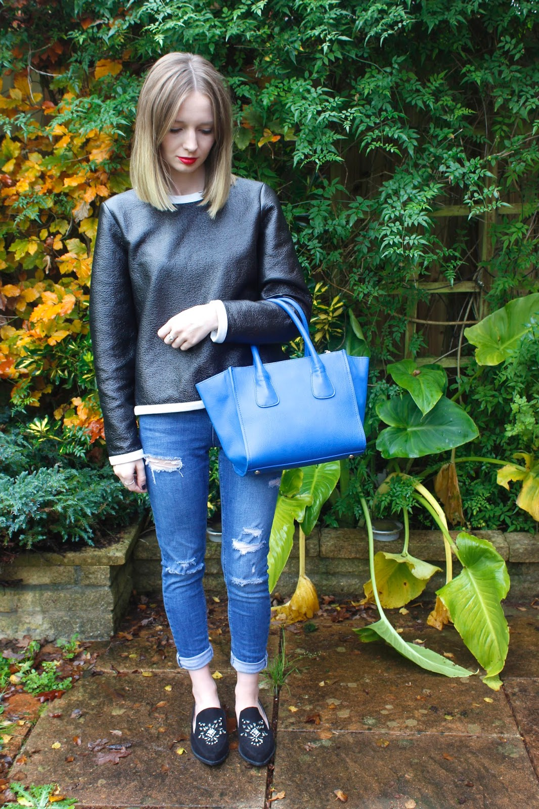 M&S Leather Jumper, Topshop Ripped Jeans, Next Embellished Loafers, Next Tote Bag