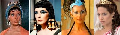 Sophia Loren, Elizabeth Taylor, Monica Belluci y Angelina Jolie como Cleopatra