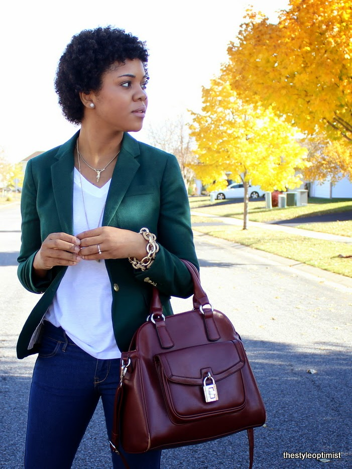 pave link bracelets, twa, natural hair, afro, natural hair blogger, jcrew green blazer, minneapolis blogger,