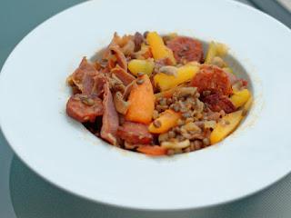 Lentilles au chorizo, carottes,champignons et tomates