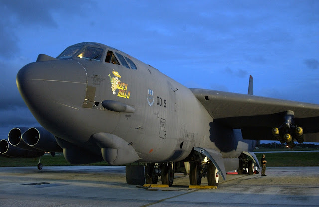 B-52 Stratofortress on the runway, deployed to Andersen Air Force Base