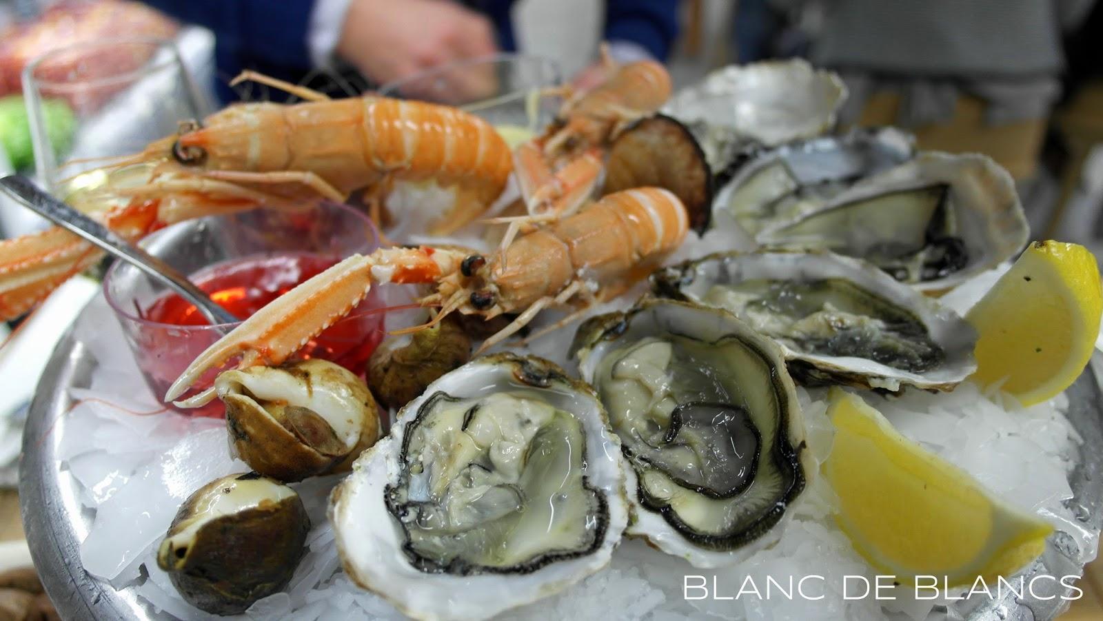 Seafood platter Galeries Lafayetten kalabaarissa - www.blancdeblancs.fi