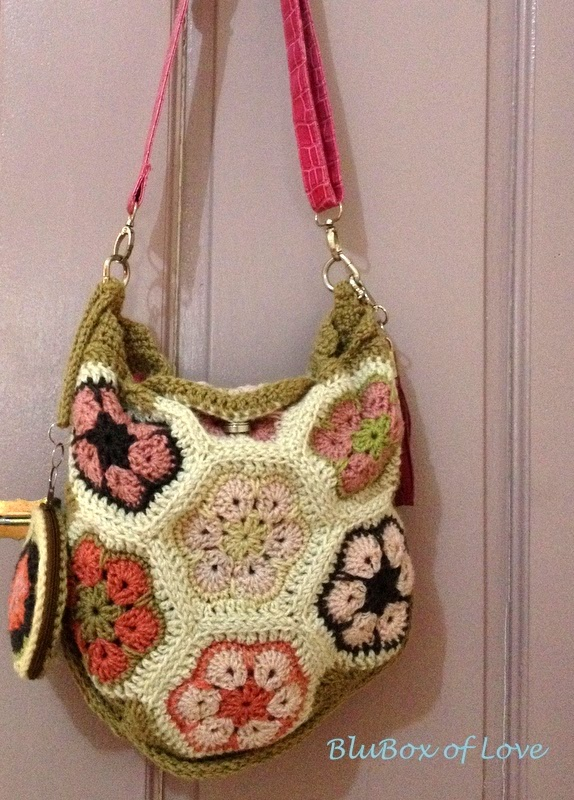 African Flower Crochet Bag with sling
