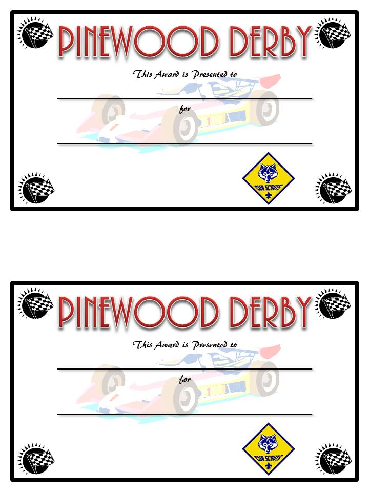 Rare image pertaining to free printable pinewood derby certificates