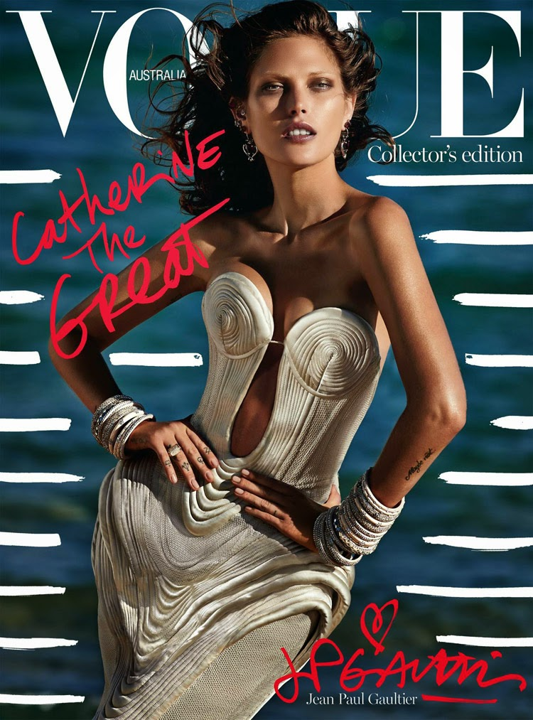 Catherine McNeil stuns in Jean Paul Gaultier for the cover of Vogue Australia October 2014
