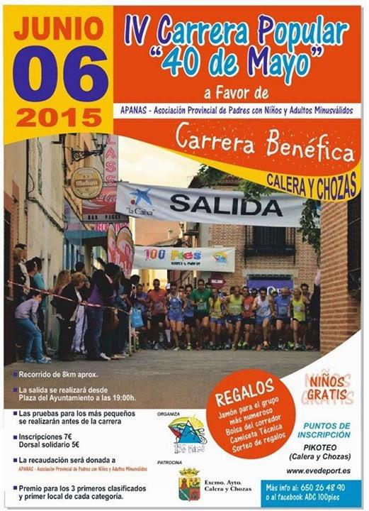 """IV Carrera Popular """"40 de Mayo"""" de Calera y Chozas"""