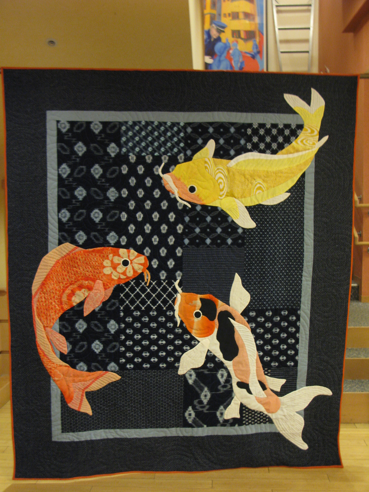 My quilt diary the gala quilt is done for Fishing themed fabric