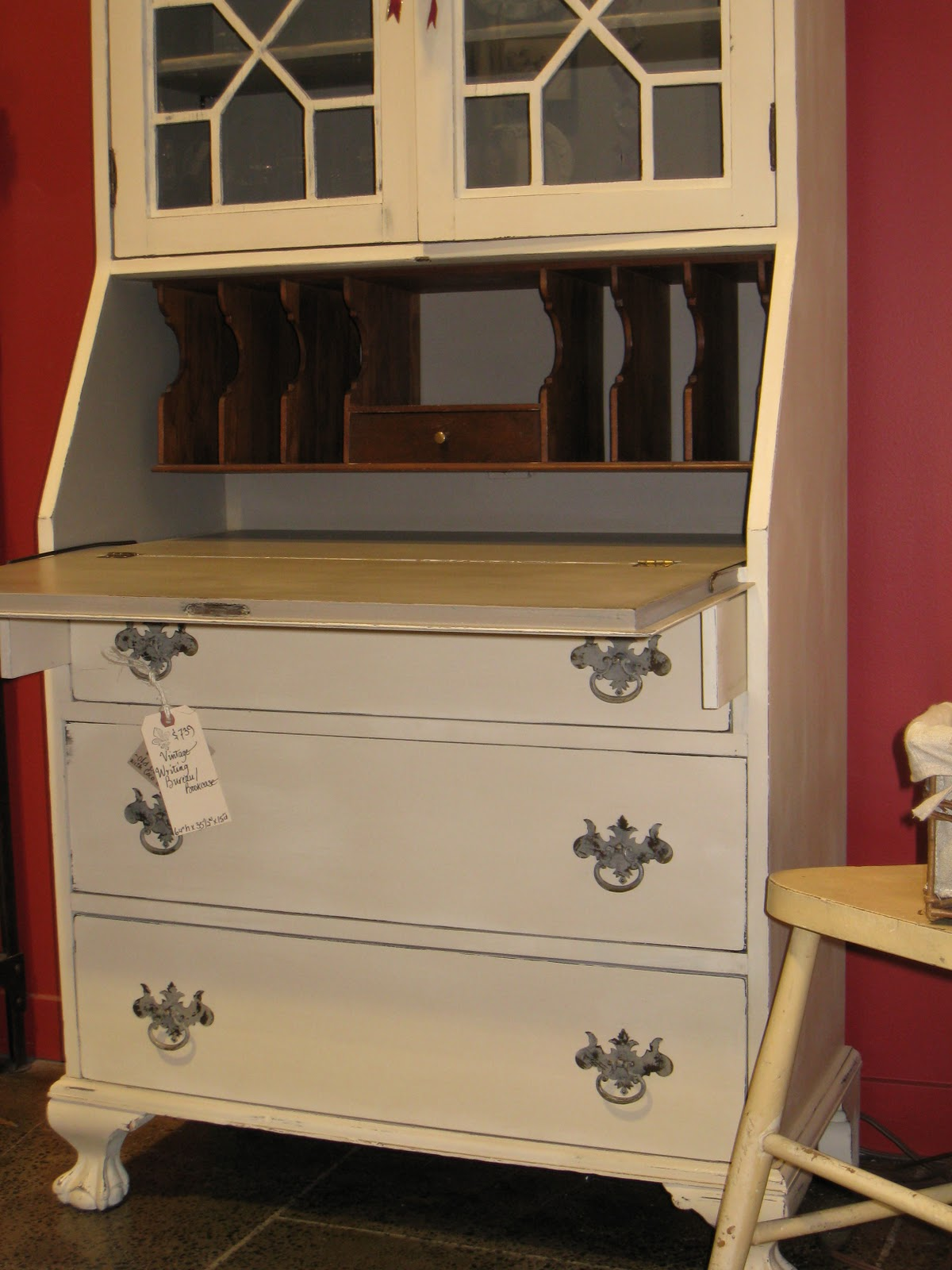a french touch sold vintage writing bureau bookcase. Black Bedroom Furniture Sets. Home Design Ideas