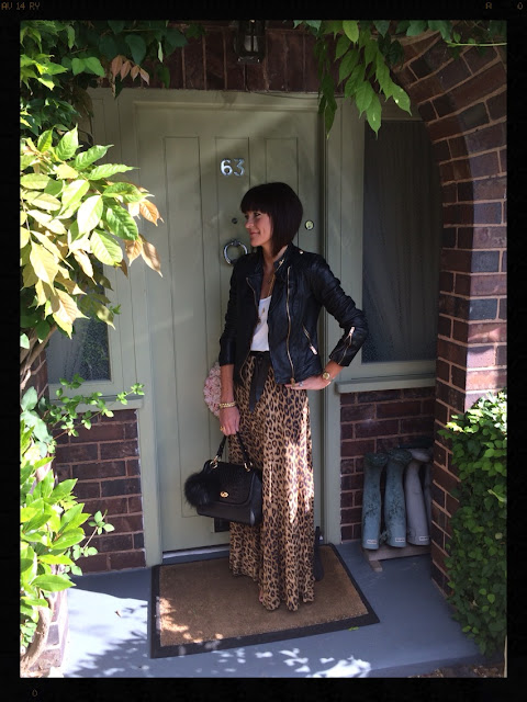 My Midlife Fashion, Leopard Print, Maxi Skirt, Biker Jacket, Zara, Ghost, Pom Pom