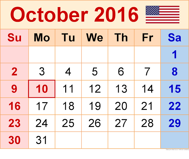October 2016 Printable Blank Calendar Templates, October 2016 Calendar with Holidays Free, October 2016 Calendar Word Excel PDF Template, October 2016 Blank Calendar Download Free