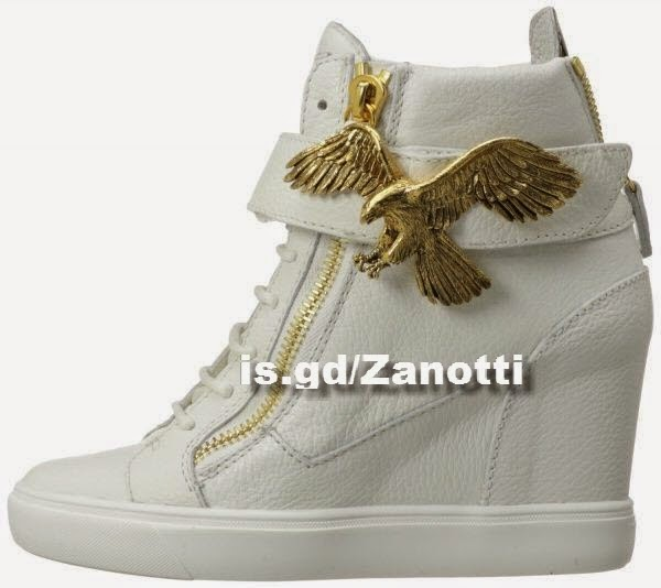 Giuseppe Zanotti Women's White and Gold Eagle Fashion Wedge Sneaker