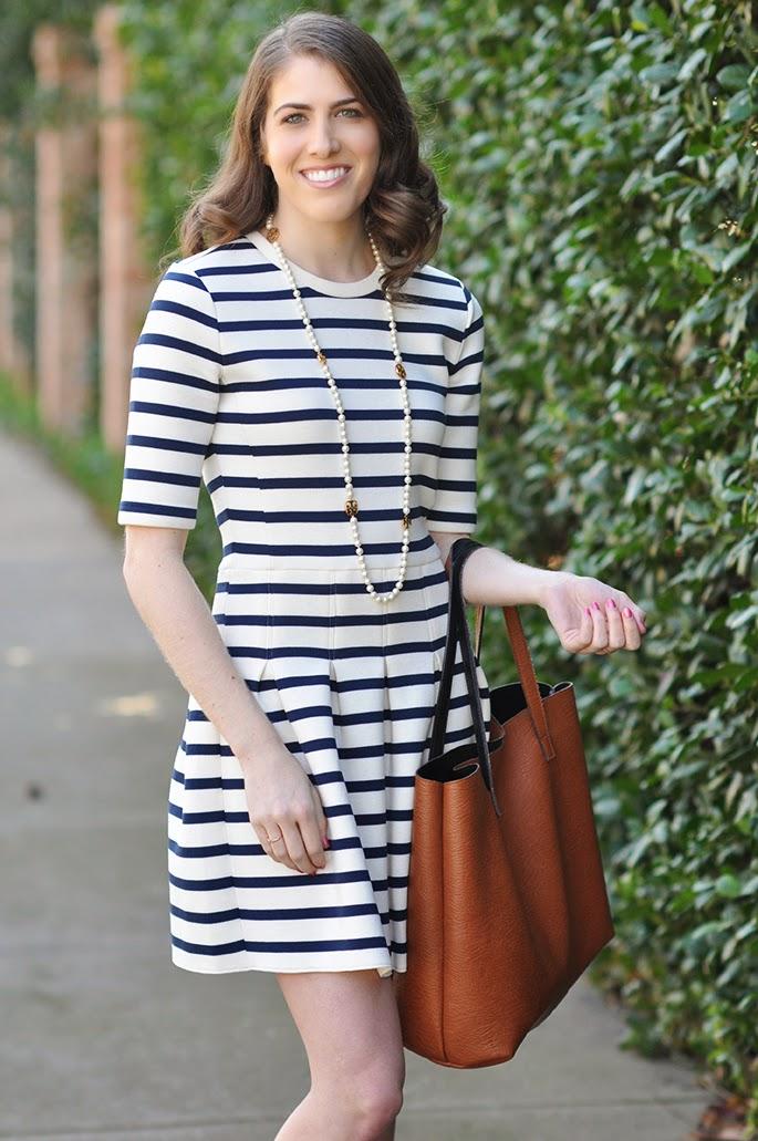 Gap stripe scuba fit and flare dress