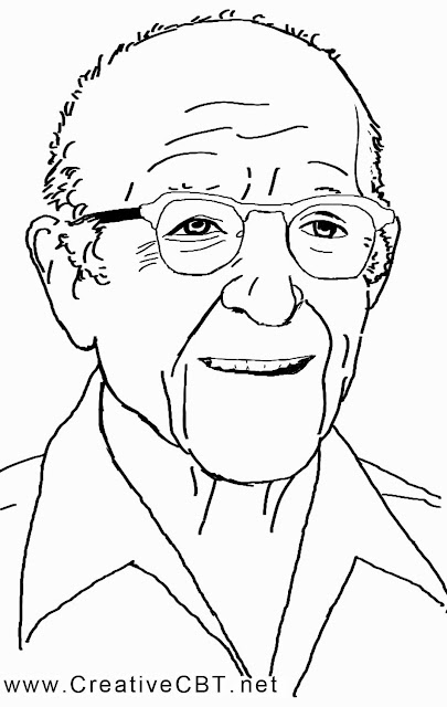 Sketch of Carl Rogers of client centred therapy - famous psychotherapists