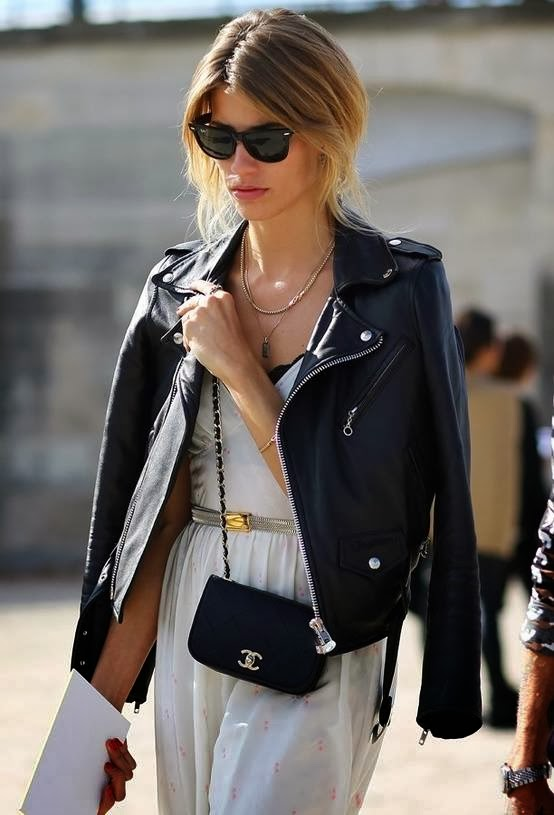 Black Chanel Chance Long Bag with Leather Jacket and Amazing White Dress, Ray-Ban Glasses and Gold Accessories