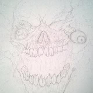 drawing exploding skull