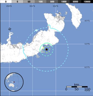 Epicentro sismo de 5,8 grados en Nueva Bretaña, Nueva Guinea, 19 de Noviembre 2012