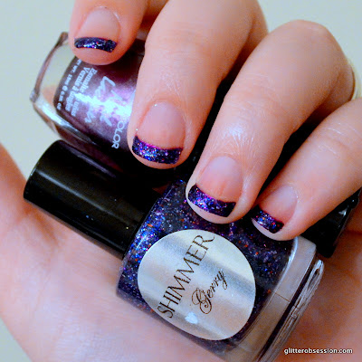 31dc2013, 31 day challenge, purple nails, purple french tips, purple nail art, glitter french tips, purple glitter, nail art, shimmer polish gerry swatch, shimmer polish gerry nail swatch