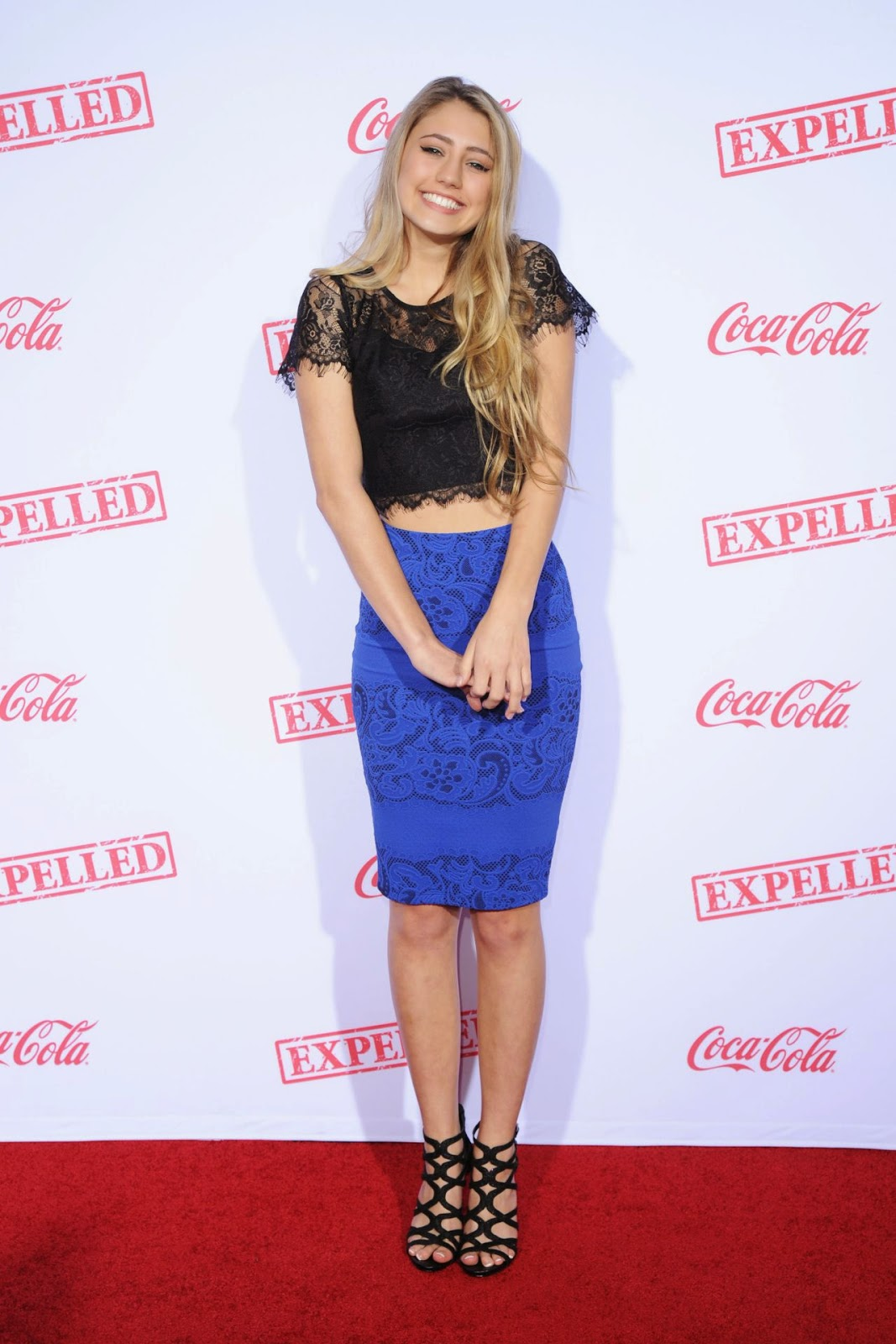 Lia Marie Johnson in a lace cropped top and skirt at the 'Expelled' Westwood premiere