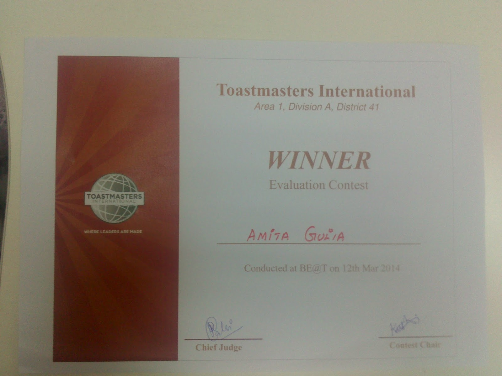 Toastmasters Evaluation Contest My First Experience I Won