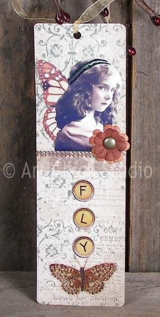Flower Girl Altered Art Bookmark