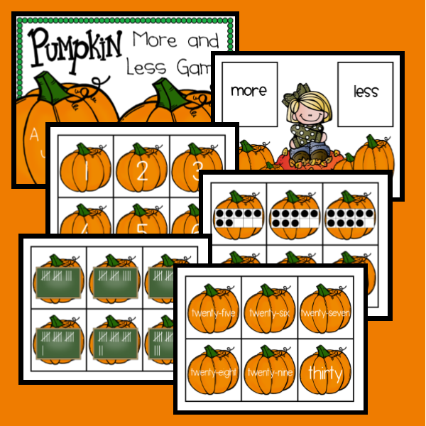 http://www.teacherspayteachers.com/Product/Pumpkin-More-and-Less-Game-1455758