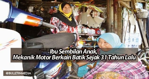 Ibu Sembilan Anak, Mekanik Motor Berkain Batik Sejak 31 Tahun Lalu