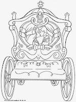 Gambar Putri Cinderella Naik Kereta Kuda Untuk Diwarnai