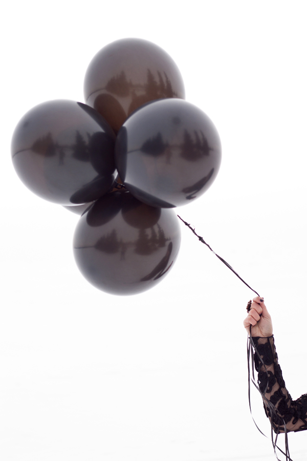 A.B.S maxi dress worn in the snow with balloons
