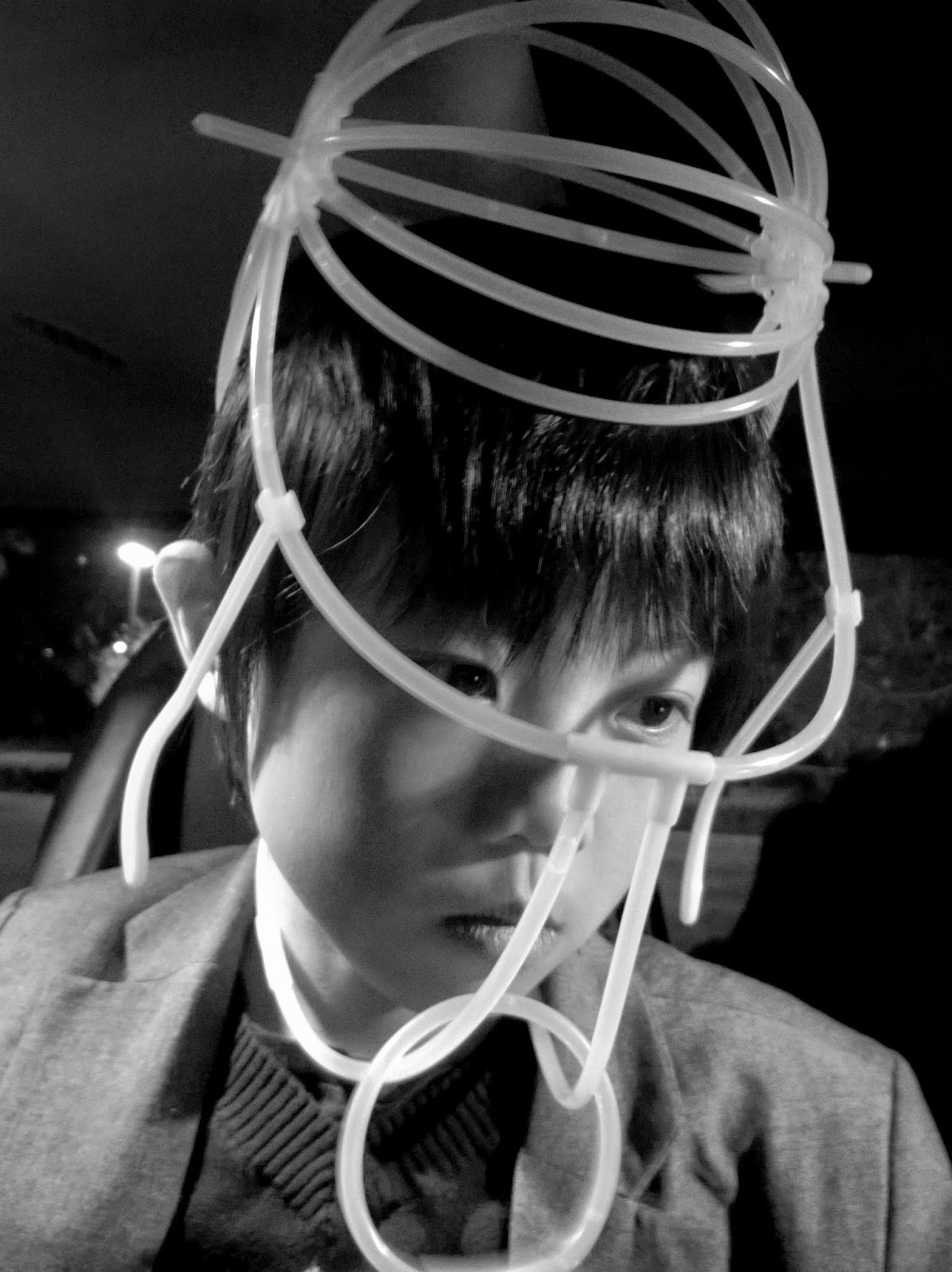 Glow stick helmet