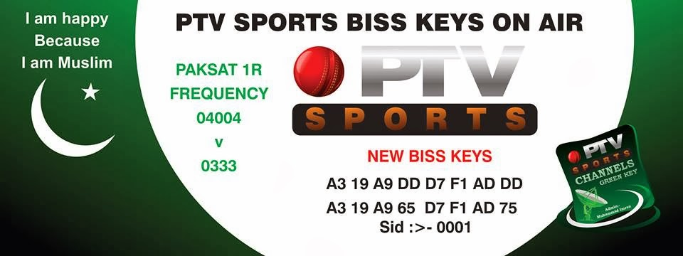 NEWS ALERT PTV SPORTS LATEST BISS KEY : - PAKSAT1R@38E :- FREQ:4004 V ...