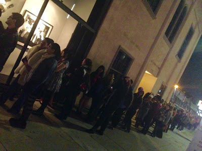 Line to get into Norman Reedus photography exhibition in Los Angeles.
