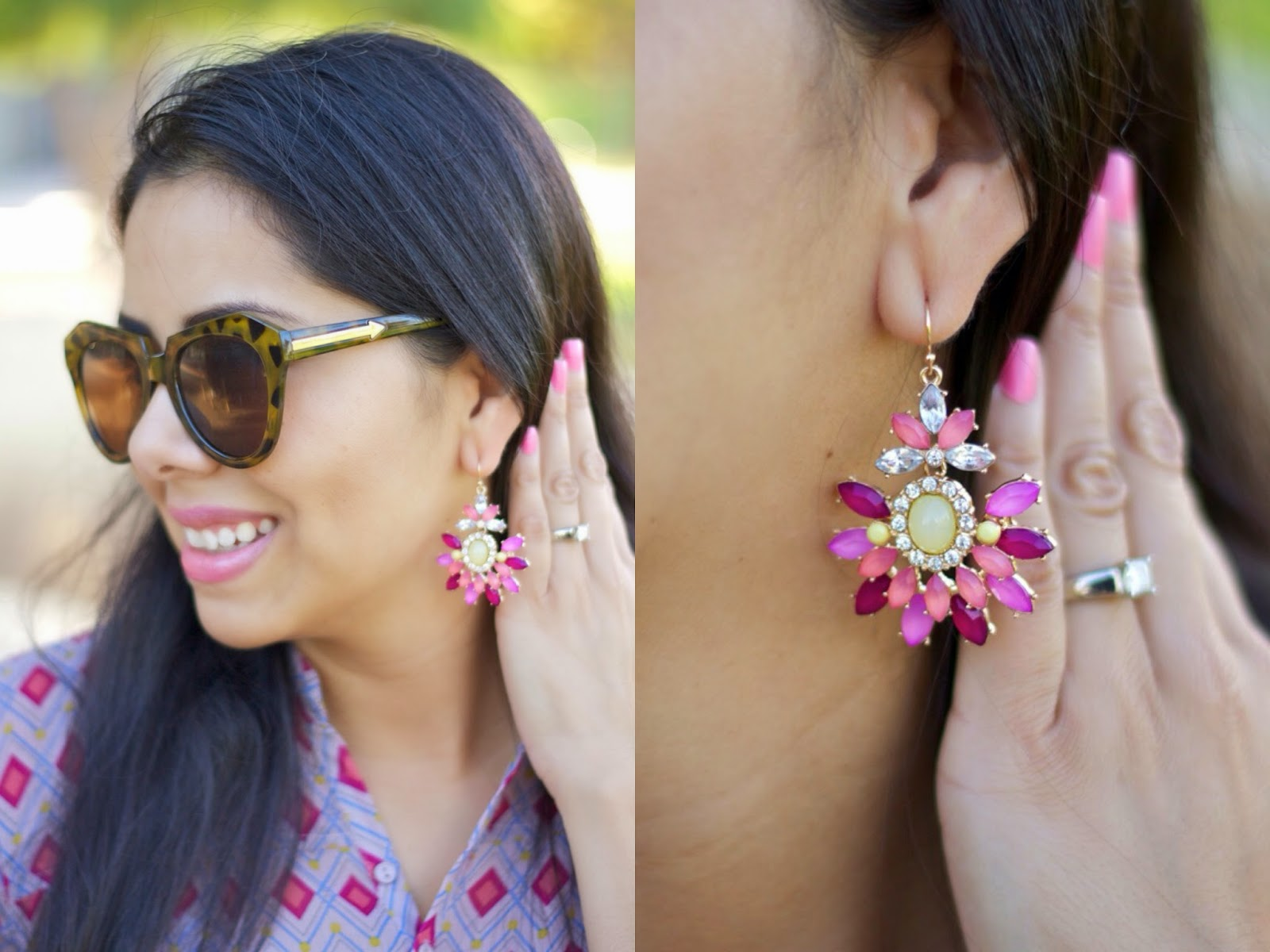 Al Fresca Earrings from DownEast Basics, Drop sparkly earrings, colorful cute earrings, karen walker sunglasses blogger