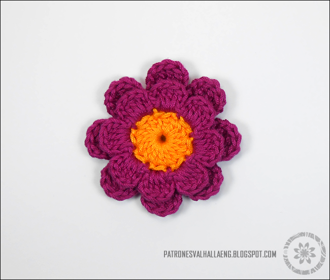 Eight Petal Crochet Flower Patrones Valhalla Free Crochet Patterns