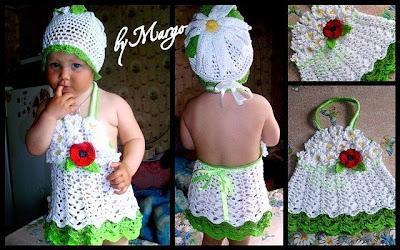 Вязаное платье крючком для маленькой девочки