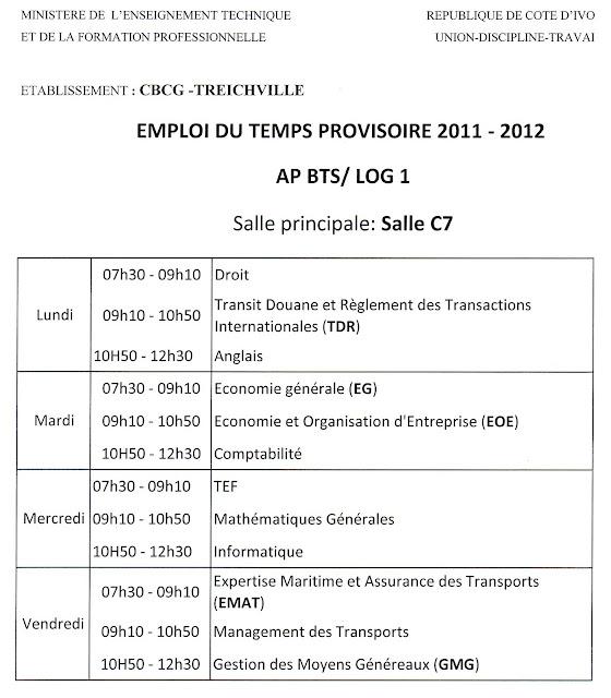 emploi du temps Logistique CBCG Treichville APBTS LOG1 2012