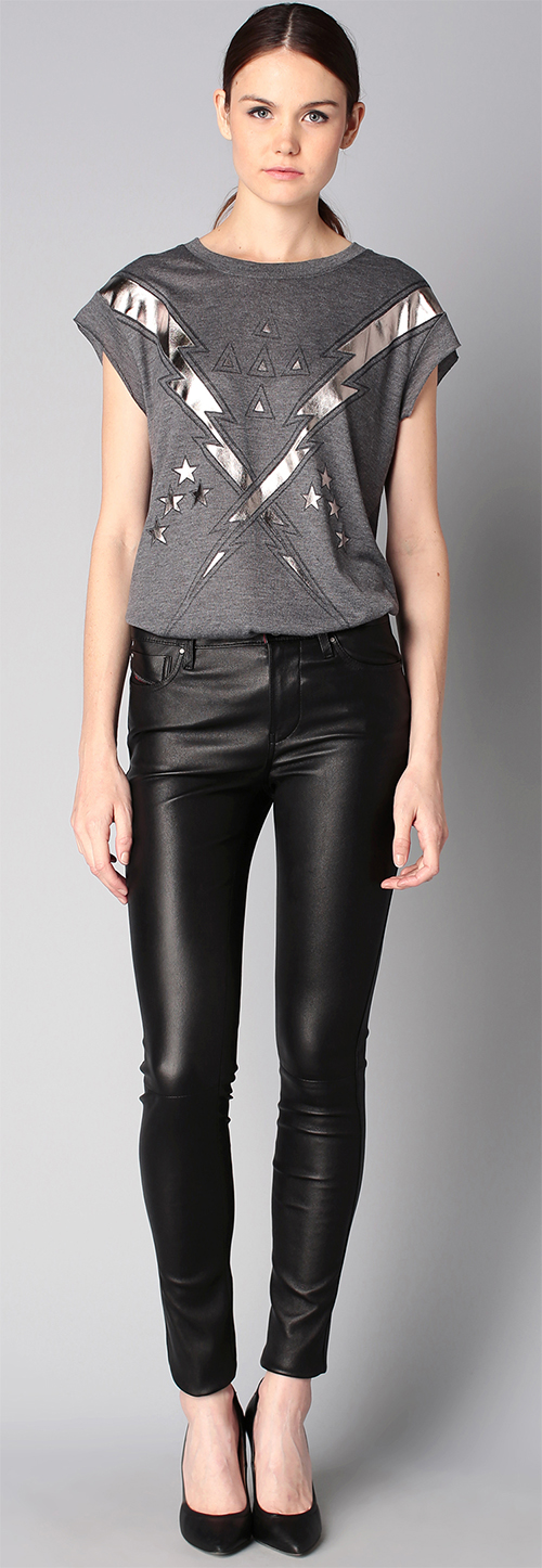 pantalon slim femme en cuir noir diesel. Black Bedroom Furniture Sets. Home Design Ideas