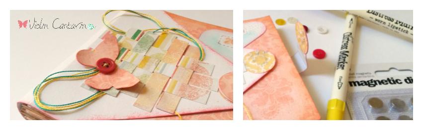 scrapbook, taller, paper weaving, cierre con imán, mini álbum, Violín Cantarín