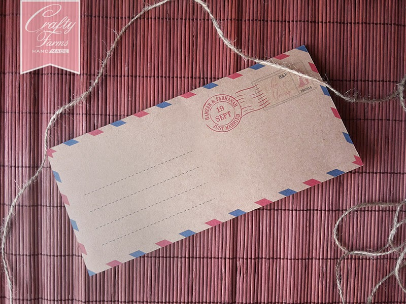 simple and affordable Airmail Theme OneFold Wedding Card Par Avion