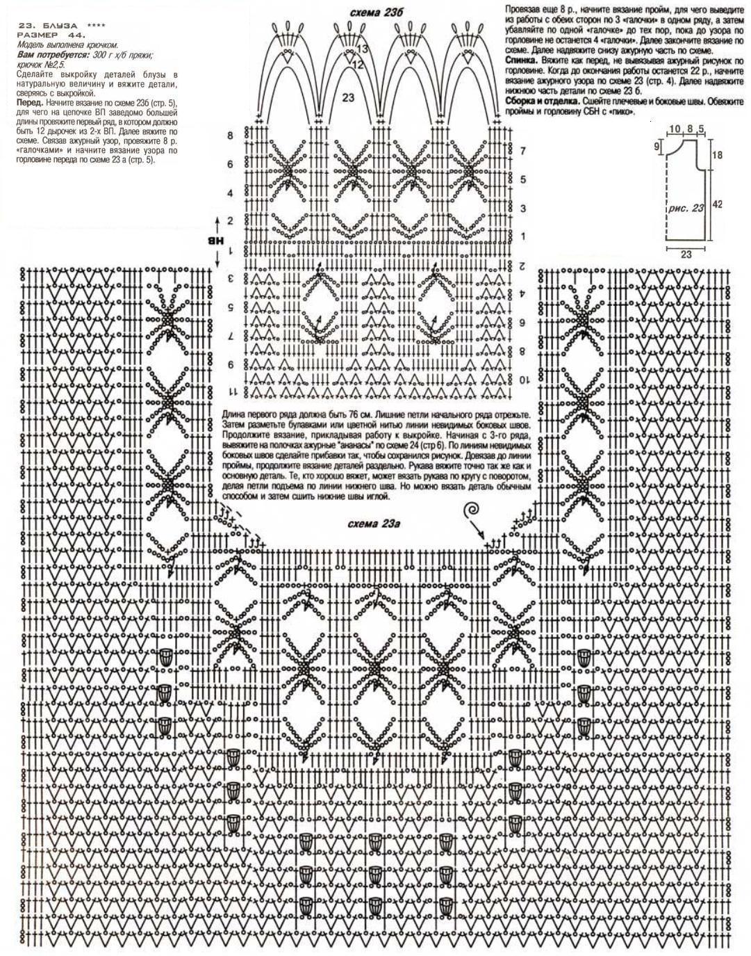 Схемы комбинированного вязания крючком 405