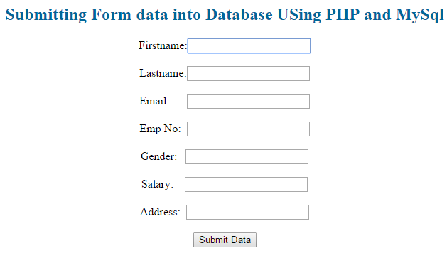 submitting form data into database using php and mysql a