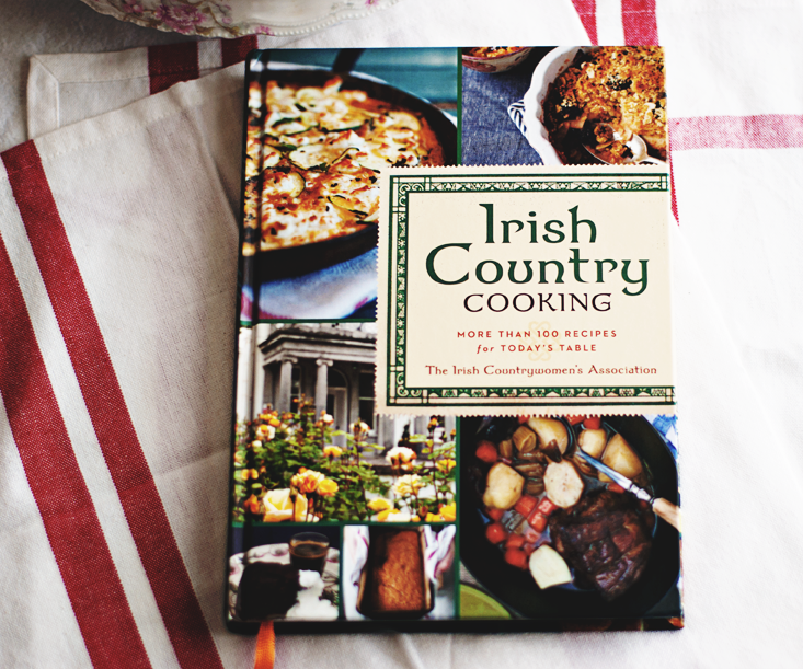 "overhead photograph of the cookbook, ""Irish Country Cooking: More Than 100 Recipes for Today's Table"""