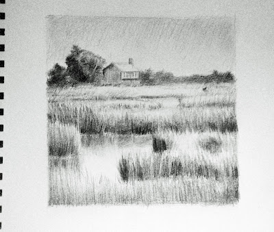 Katherine Kean, drawing, the great marsh, cape cod, halfway house, graphite, nature