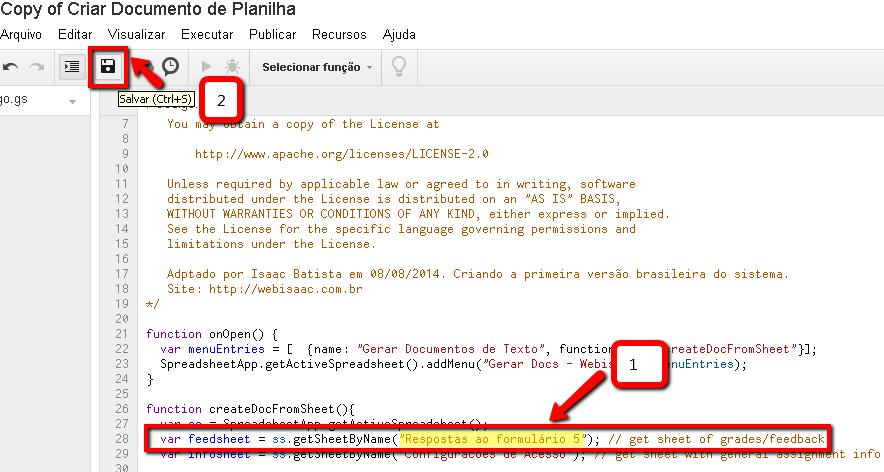 Editar script em planilha do Google Docs