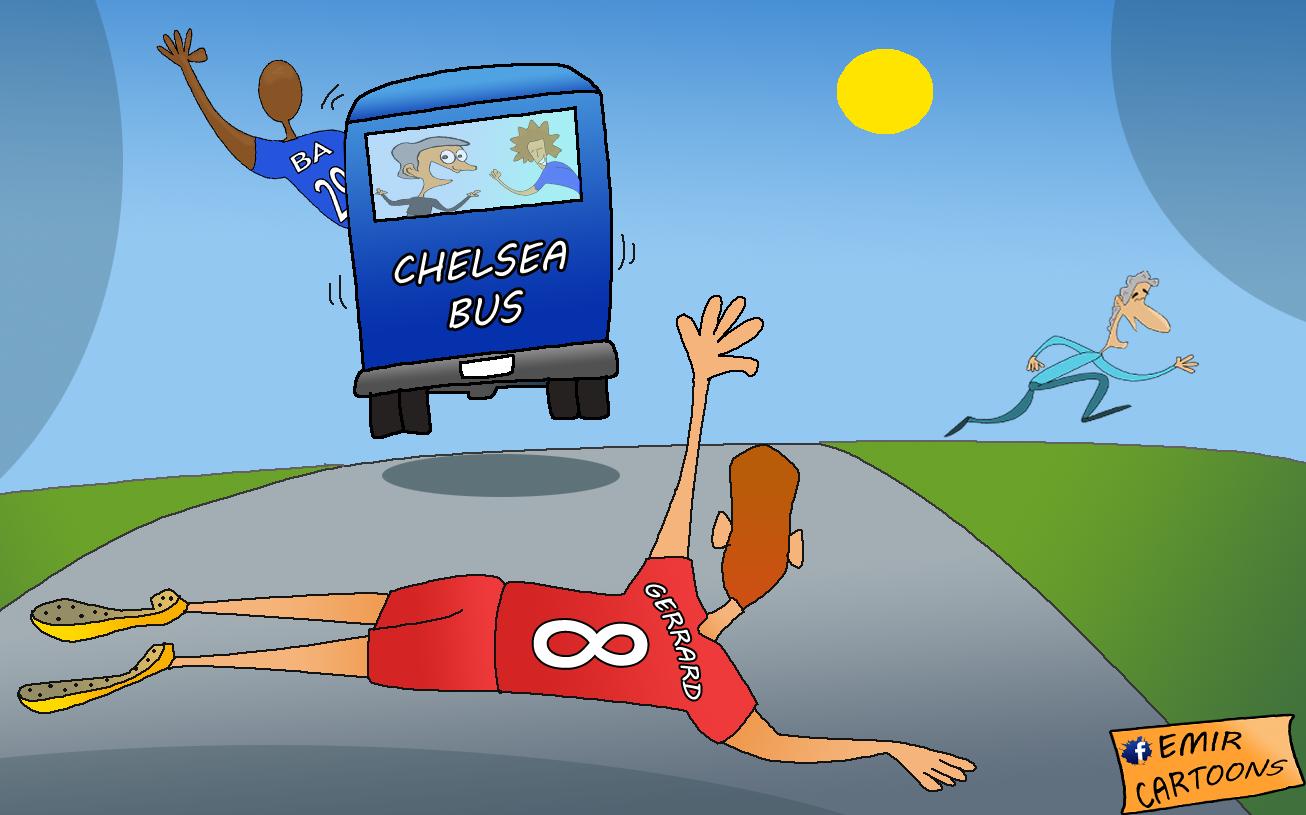 Chelsea,Chelsea Liverpool,Liverpool,Gerrard ,Gerrard  ba,demba ba,emir balkan cartoons,omar moamni,fudbal,karikature,karikatura dana,cartoons,
