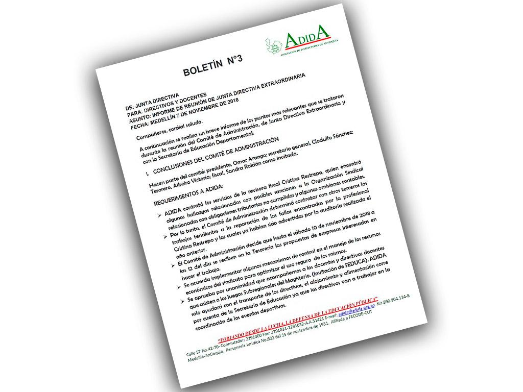 Boletín N° 3 INFORME DE REUNIÓN DE JUNTA DIRECTIVA EXTRAORDINARIA