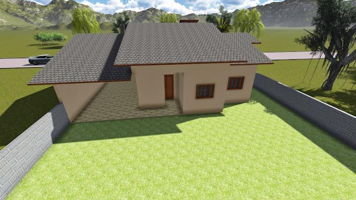 Fachada traseira de casa moderna com suíte