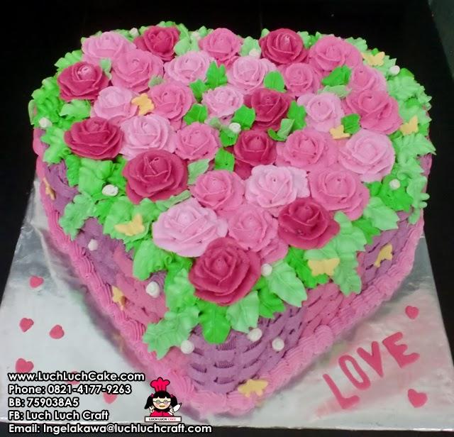 Kue Tart Valentine Bunga Daerah Surabaya - Sidoarjo