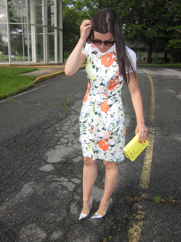 floral dress, silver cap toe heels, neon yellow crossbody bag