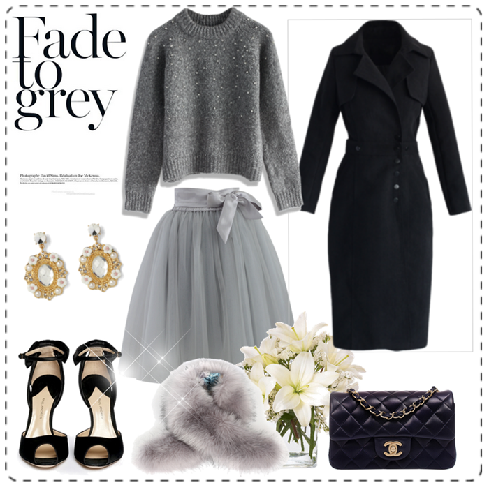 outfit grigio gonna tulle